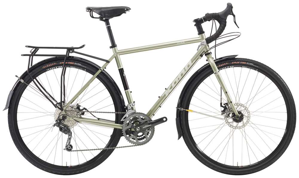 Kona Sutra, $1399 For roads, paths, tracks, and everything else the big, wide world of bike touring has on order, we make the Sutra. Featuring a new frame that's loaded with everything you need to ride deep, far and forever.