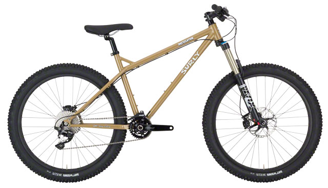 2016 Surly Instigator 2.0, $1899 Some may remember a Surly model we discontinued called the Instigator. The Instigator was a burly hardtail made for going fast and going big. Our new Instigator picks up where that one left off. This thing is beefy and tough, yet quick-handling and well balanced. This new Instigator differs from the old one of course. Most notably, Instigator 2.0 is what we call 26+, designed to run 26˝ (559mm ETRTO) Rabbit Hole rims. At 50mm they're quite a bit wider than standard MTB rims, and coupled with our 2.75˝ Dirt Wizard tires the overall diameter is about 27.5˝