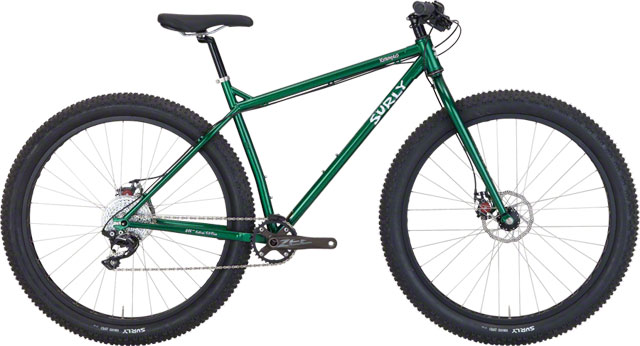 """2016 Surly Krampus, $1699 Krampus is the evolution of the 29er. It's not a fat bike. True, its got 3"""" tires on 50mm rims (we call this combination """"29+""""). But where fat bikes are really designed for slow-speed crawling, Krampus's frame (geometry, tubing diameter/thickness) has been designed with a long toptube and as short a rear end as we could get away with given the wheel/tire size. This, when combined with the big, wide tires, results in a mad amount of rolling inertia and grip. It rips and responds well to body English. The big tires also offer a bit of suspension-like cushion. Krampus is a trail bike that also tackles all kinds of terrain. Krampus lives somewhere between bushwhacking, speed racing, and back lot dirt track riding, and all this makes it just plain fun to ride."""