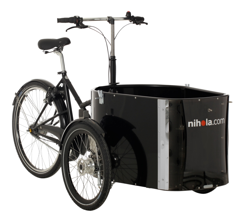 Nihola Family, $4199 + tax . The Nihola Family cargo bike can carry up to 100 kg in the cabin and there is space for 2 children of up to the age of 7-8 years old on the bench. As an alternative a carry cot or car seat can be used in the bottom of the cabin and a child or adult can sit on the bench. The bench can easily be removed without tools (if for example you want to fit just a carry cot). Comes with Rain Cover, and Bench with Seatbelt.