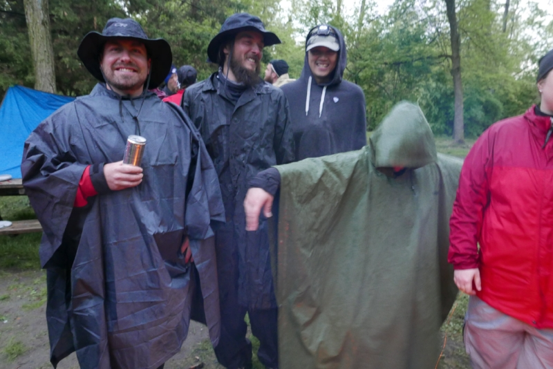 The rain started again, so the Ponchos came out