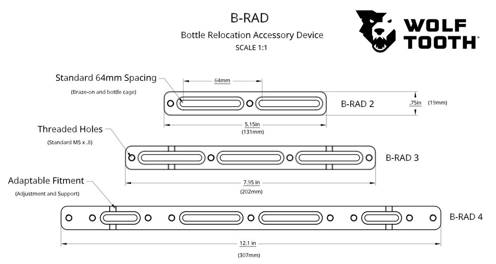 You can use this doc from Wolf Tooth to determine the size of B-Rad you need