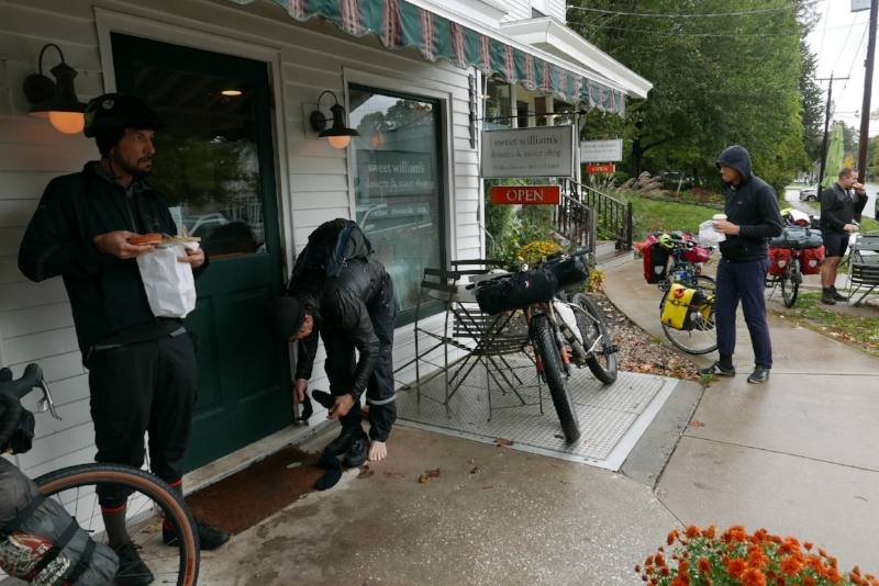 At Millerton, the group veers east and stops for lunch in Salisbury CT, 16 miles from the start of the journey. The rain is still coming down, and many riders opt to change into more substantial rain/warm gear.