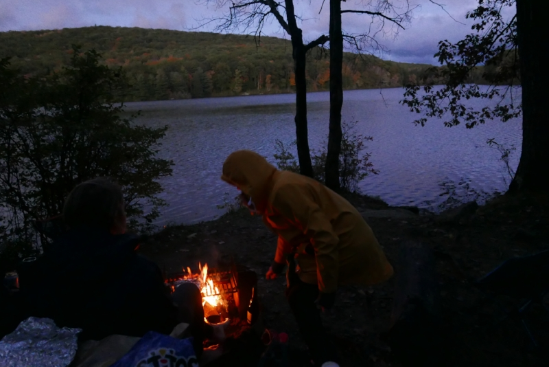 As always, a campfire is started at once…temps were expected to dip to 35 degrees during the night