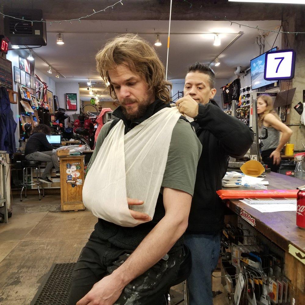 No one gets bandaged-up like Aaron