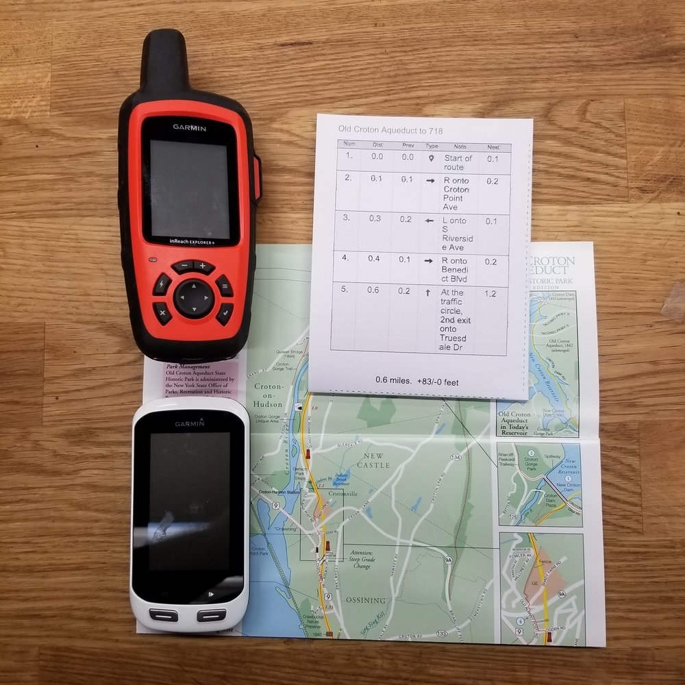 1 NAVIGATION – Map, compass, and GPS system:  For our Shop Rides, I will have my Garmin InReach (Satellite Communication Device), Garmin 1000, a Map and Cue Sheets. The routes on our Shop Rides are pretty defined and really not our in the wilderness, however in pays to be prepared. Not pictured but always with me is a recharging battery. I stress that you cant rely on digital navigation devices alone. One must study the route, and have waterproofed paper copies of map and cue sheets.