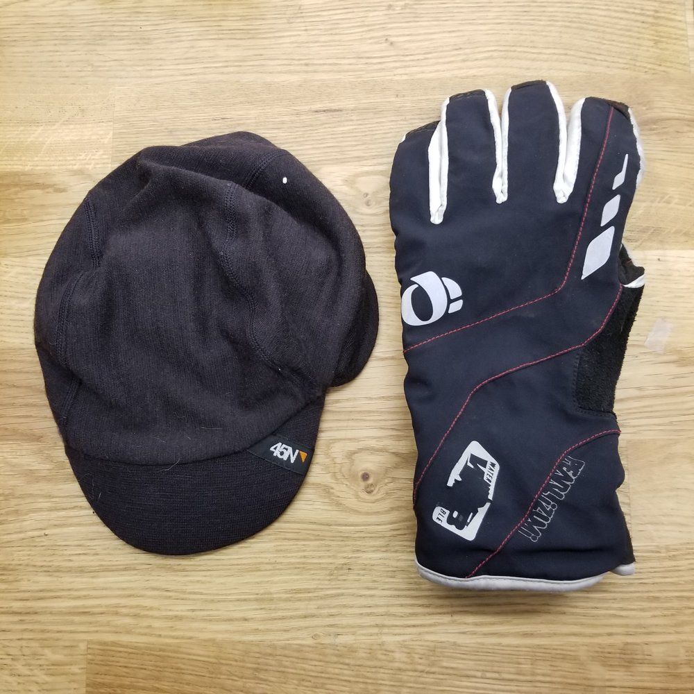3 INSULATION – Jacket, hat, gloves, rain shell, and thermal underwear:  Again, I always ride with a thermal cap or 718 Shop cap under my helmet. I always ride with gloves (thick ones in cold, finger-less ones in warm weather) Not pictured buy always with me is my O2 rain gear.