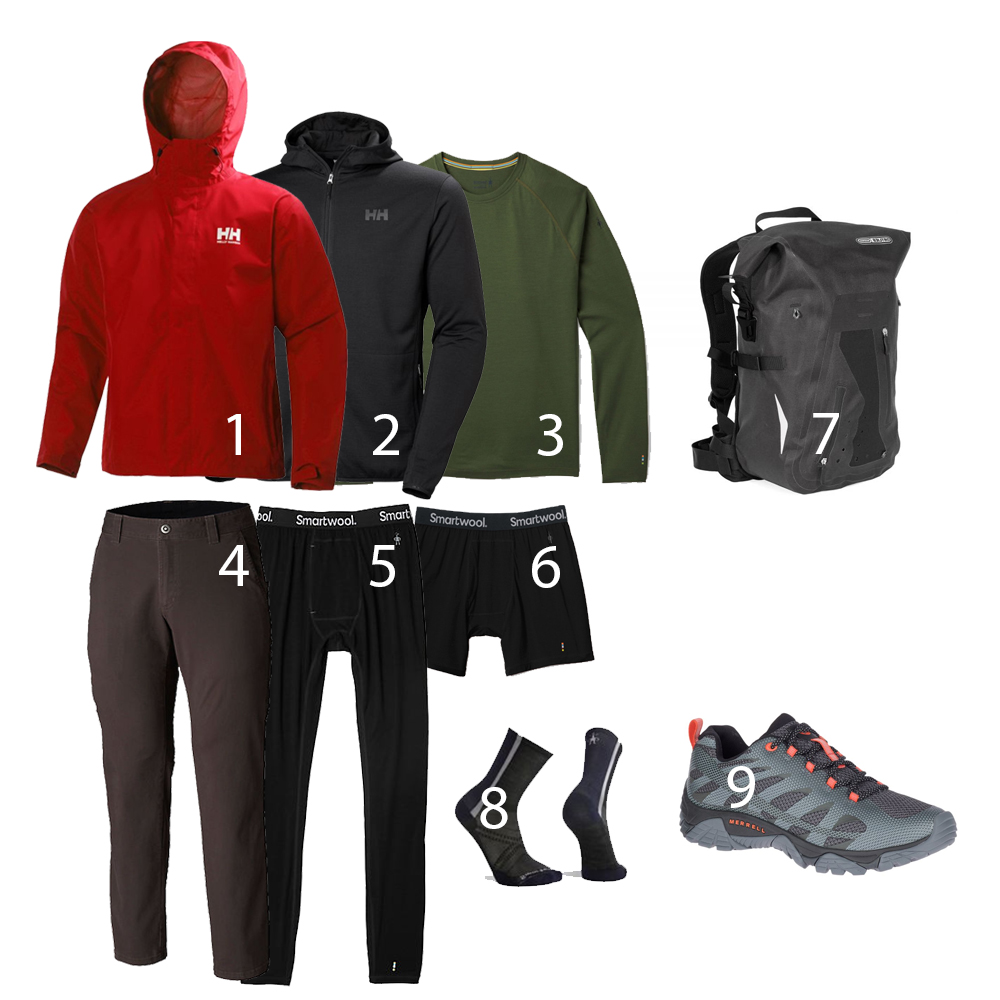 Clothing: 1. Helly Hanssen Seven J Jacket, 2. Helly Hansen Merino Fleece Hooded Jacket. 3. Smartwool Merino Base Layer. 4. Columbia Ultimate ROC Flex Pants,. 5. Smartwool Merino 150 Base Layer. 6. Smartwool Merino 150 Boxer Brief. 7 Ortlieb Packman Pro 2, 8 Smartwool Cycling Socks, 9. Medrrill Men's Moab Edge 2 Shoes.