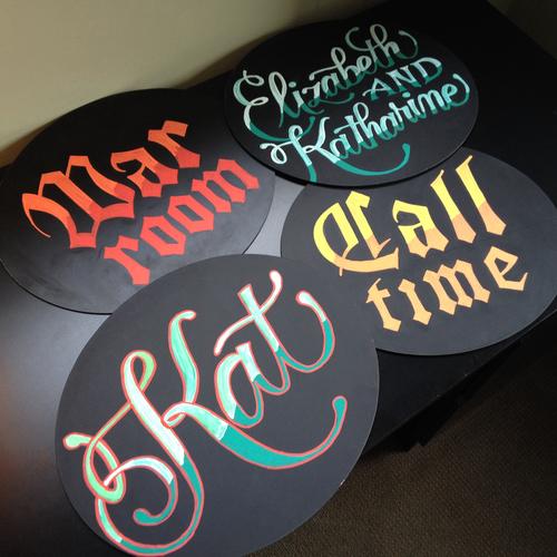 Hand lettered chalkboard signage for Kat's office