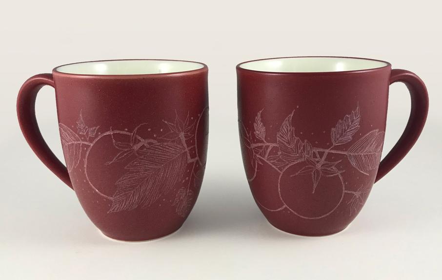 Engraved Tomato Art Mugs