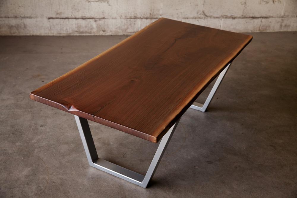 Live Edge Walnut Coffee Table With Powder Coated Steel Base