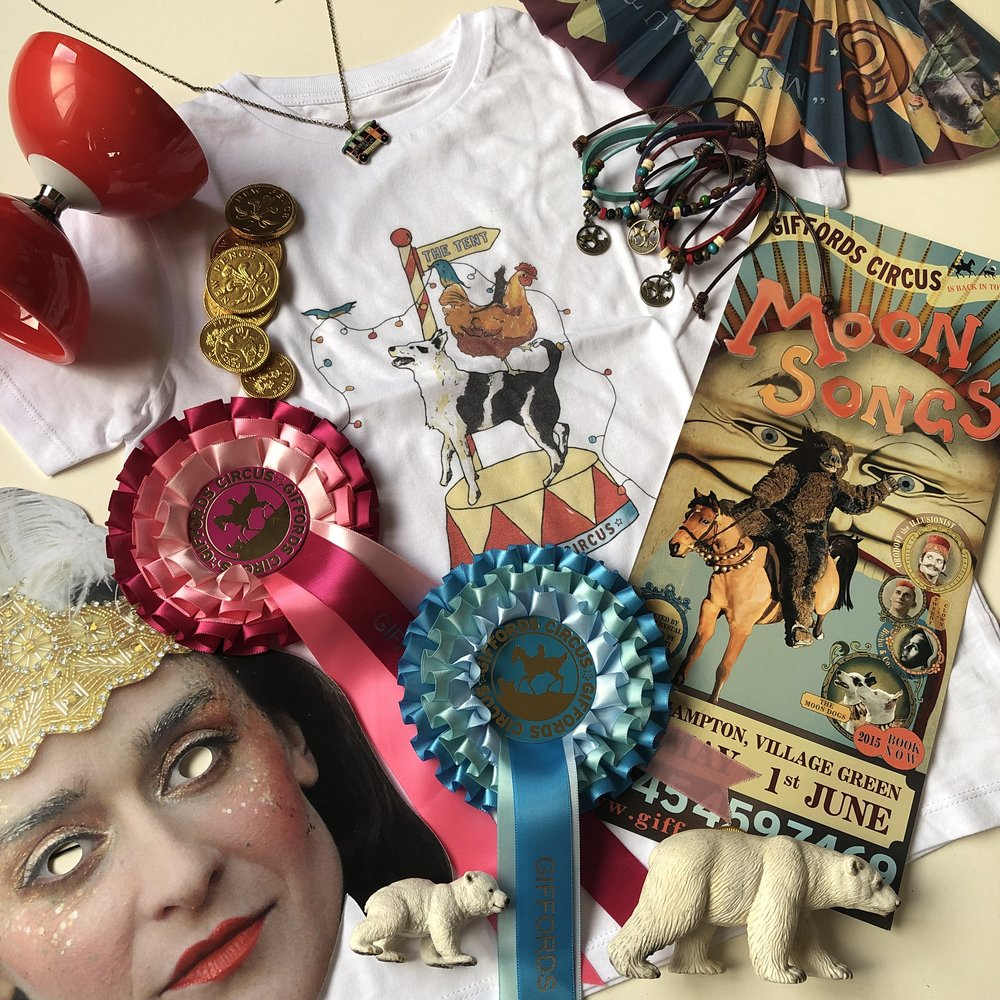 Circus t-shirt, a Nancy mask, a diabolo, posters, rosette, charm bracelets and a circus fan.