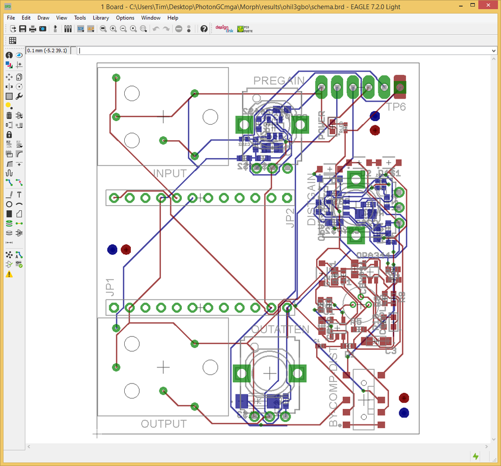 Fig. 12: Final layout with subcircuits and other components placed around the Photon Board interface headers.