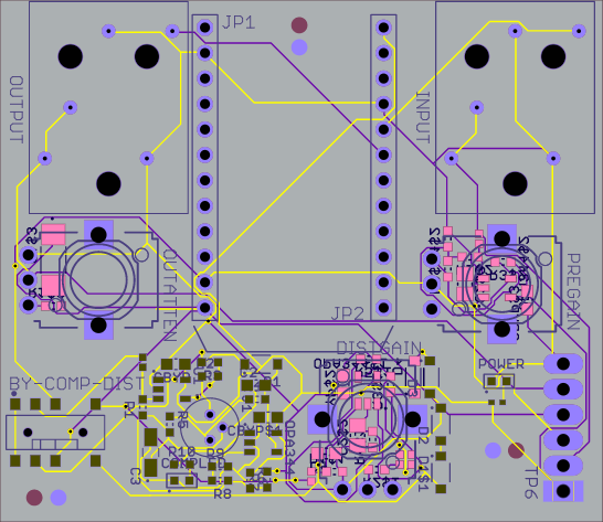 Fig. 1: Completed PCB Layout of Photon Guitar Pedal.