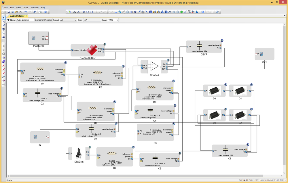 Fig. 10: The Audio Distortor subcircuit schematic in the MetaMorph Desktop Tools.