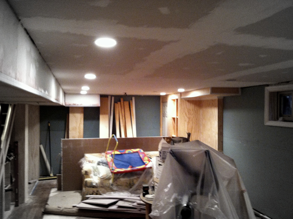 Unfinished basement at the start of framing