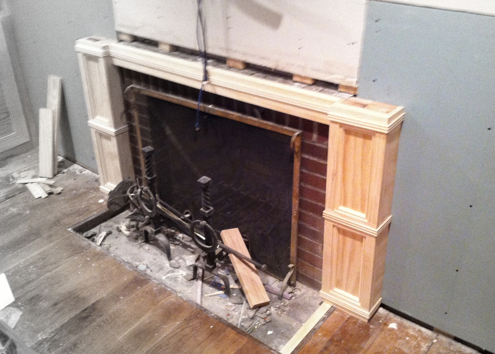 Fireplace mantel pre-paint