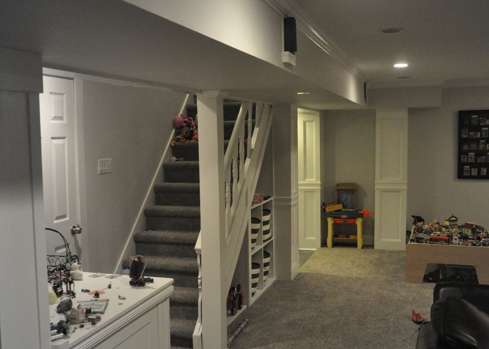 Finished stairs basement view