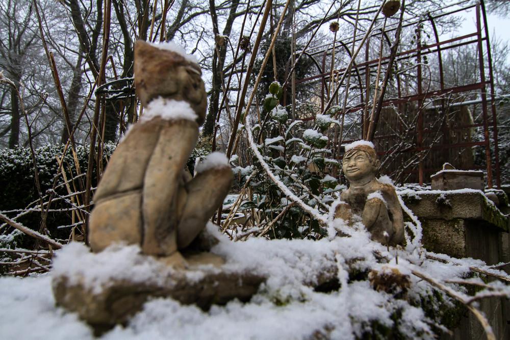 Garden Imps in Snow