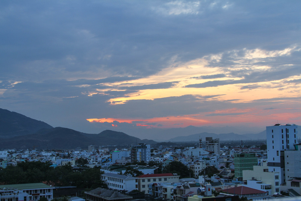 The sunset from the rooftop pool in Nha Trang.
