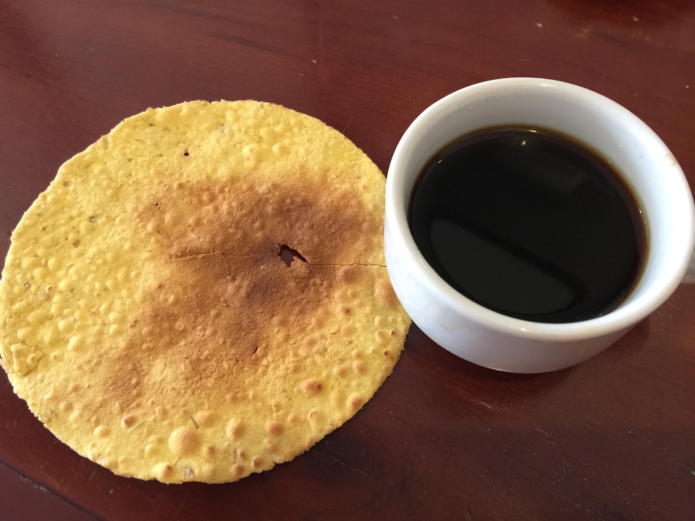 This ginger-coconut tortilla looking thing was quite tasty. The coffee? Meh.
