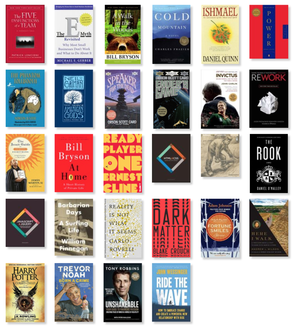 Light year for reading - Flooding my brain with code is my excuse for missing my 36 book goal, but I still found some time to read/listen to these gems. Would be happy to recommend and geek out on any of them. Hit me up.