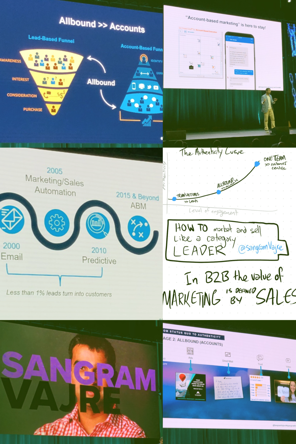 #6 - 'Account based marketing' is here to stay. - You familiar with ABM?You should be.Sangram Vajre had great presence and I was so busy taking photos of his slides I barely got any sketch notes taken 😬