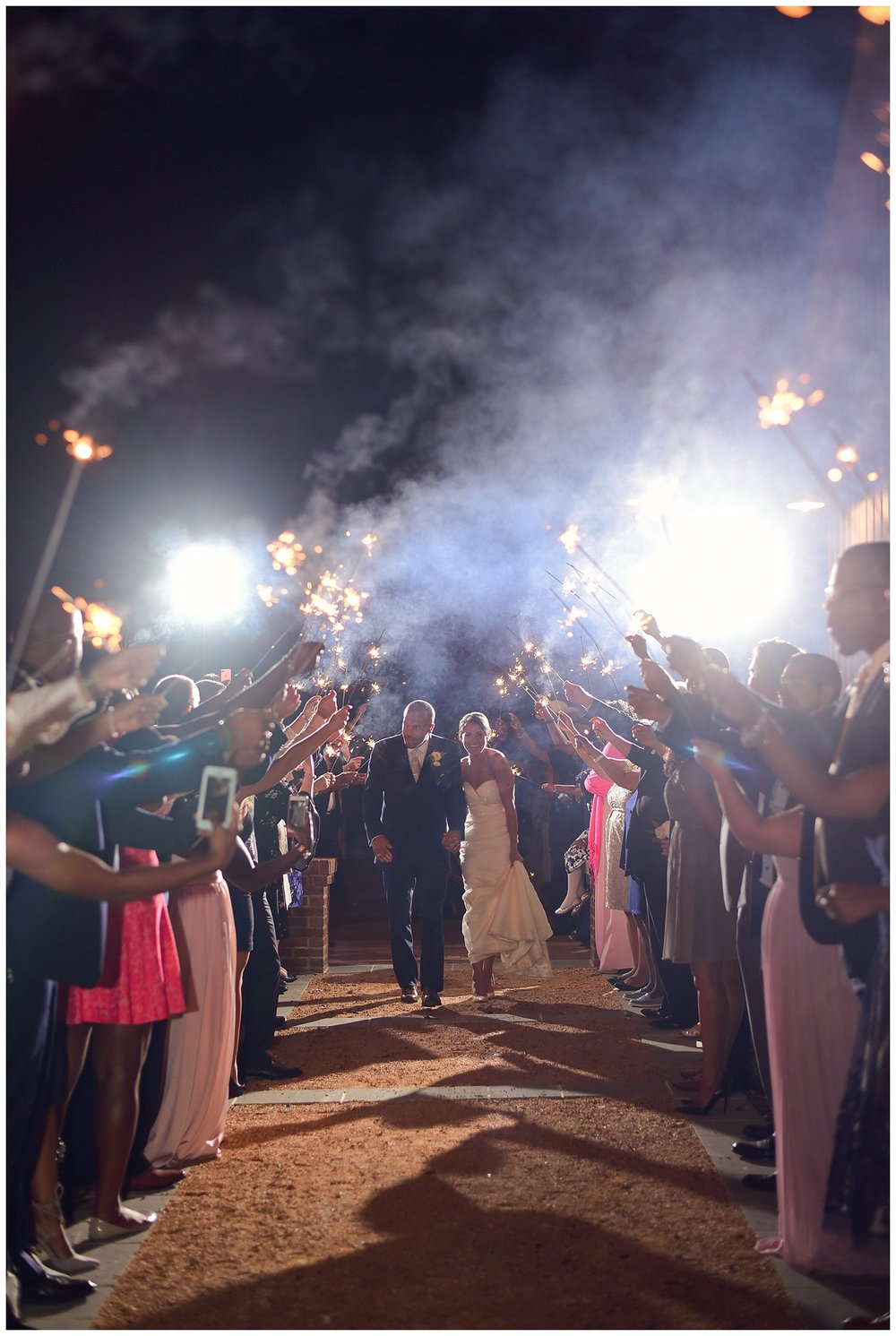 Barn of Chapel Hill Wedding sparkler exit