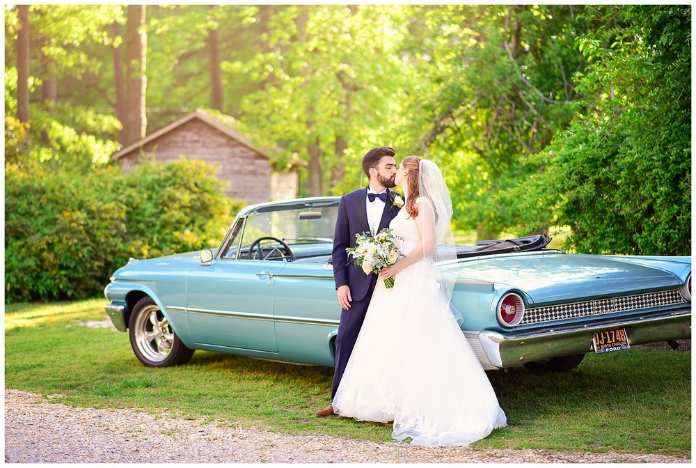Bride and Groom with Classic Car
