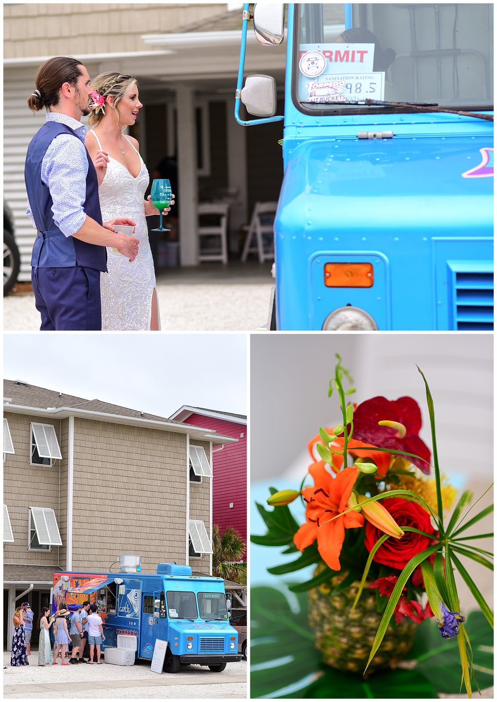 beach wedding reception food truck