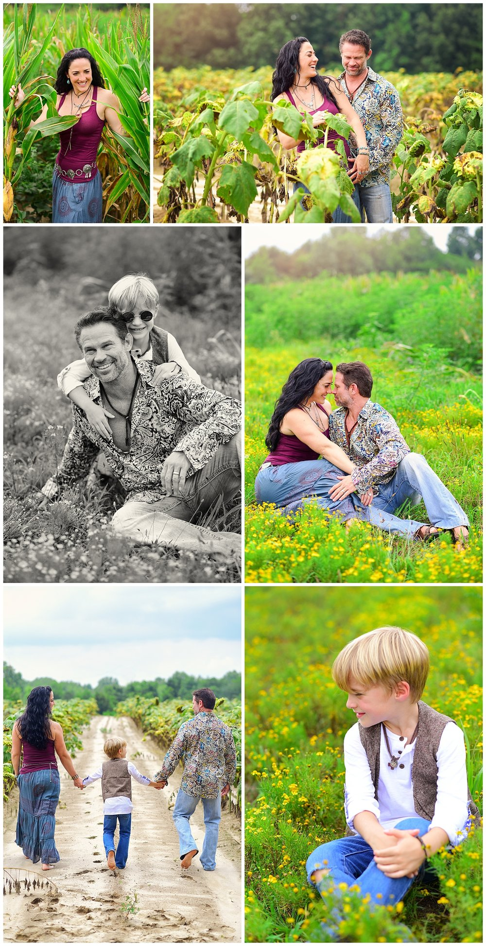 Boho Photography in Sunflower Field