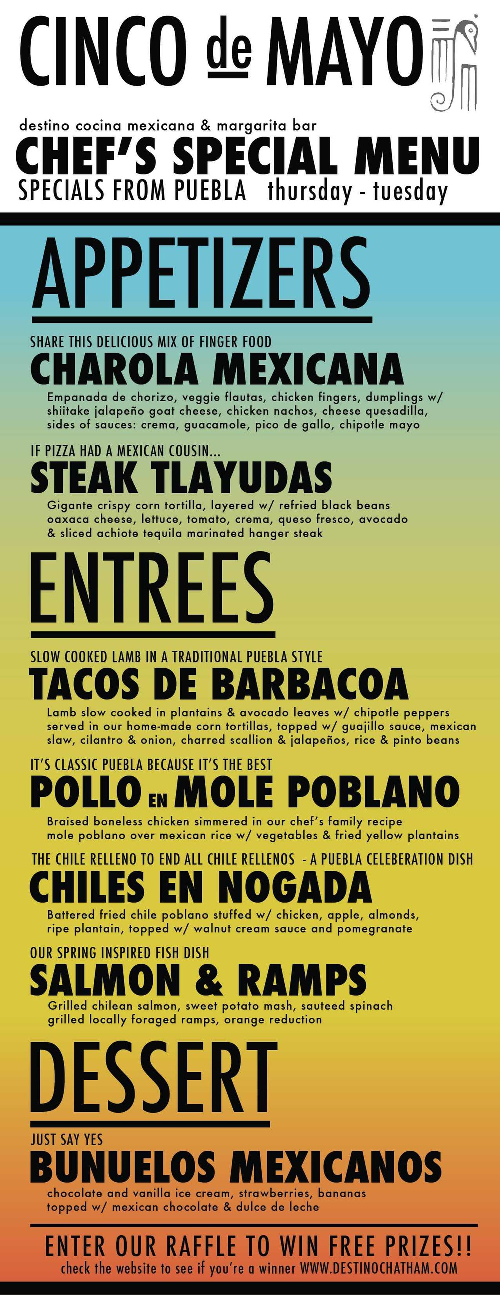 cinco menu
