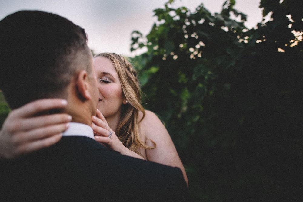 Bride and groom at Bluestone Vineyard in Bridgewater, Virginia.