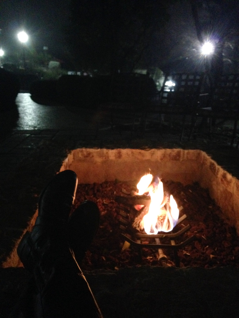 Day 35: Enjoyed a warm flame on a foggy night during a wedding reception