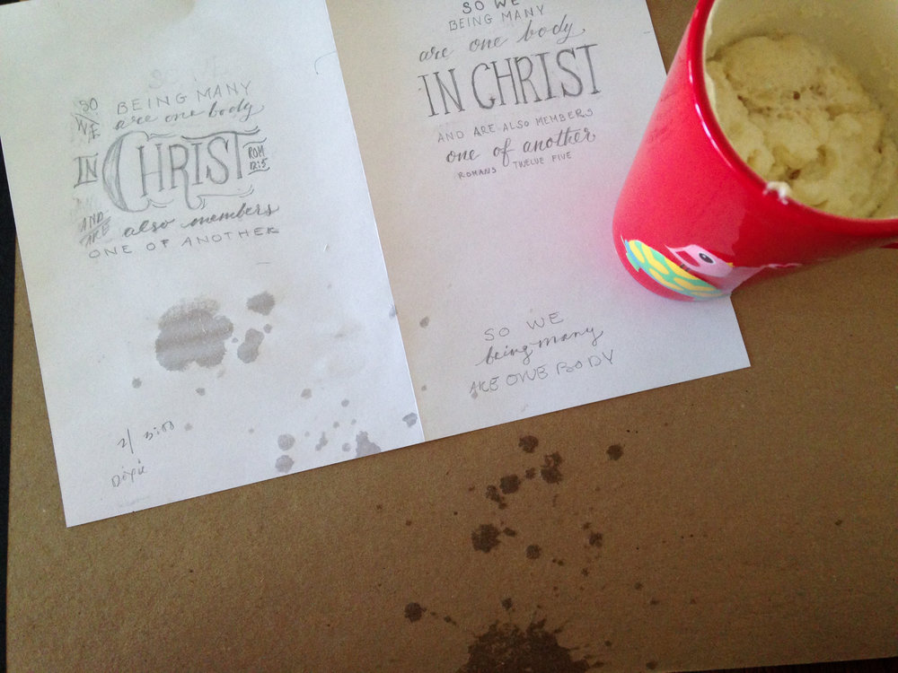 Day 46: Spent a few hours working on a lettering project while enjoying coffee with whipped cream. I only spilled it twice on myself and workspace. Only twice. Thankfully, the 1st draft was done before it happened.