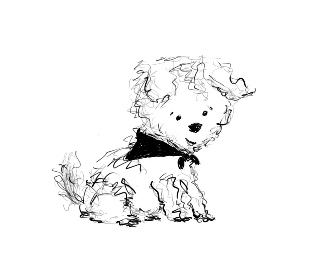 Day 59: First draft of a leetle dog. Why is it on my blog, do you ask? It's a practice project using a digital drawing tablet!