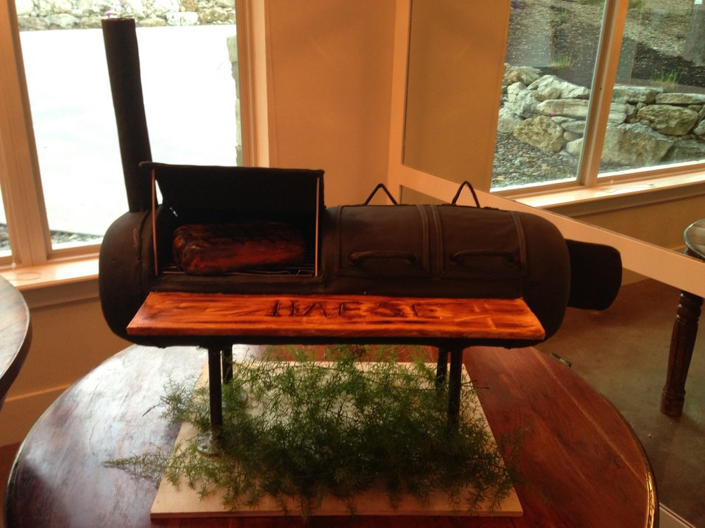 Groom's cake was a BBQ smoker, complete with 'steak' and dry ice 'smoke'