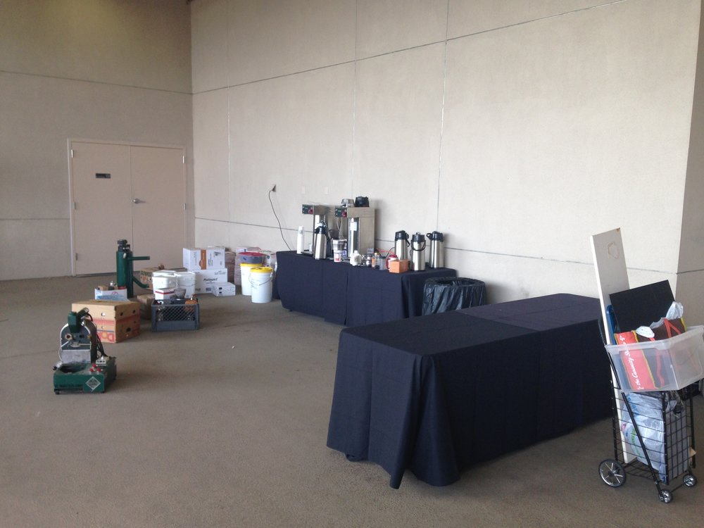 Day 72: setting up the coffee stand for the Christian Worldview Film Festival!