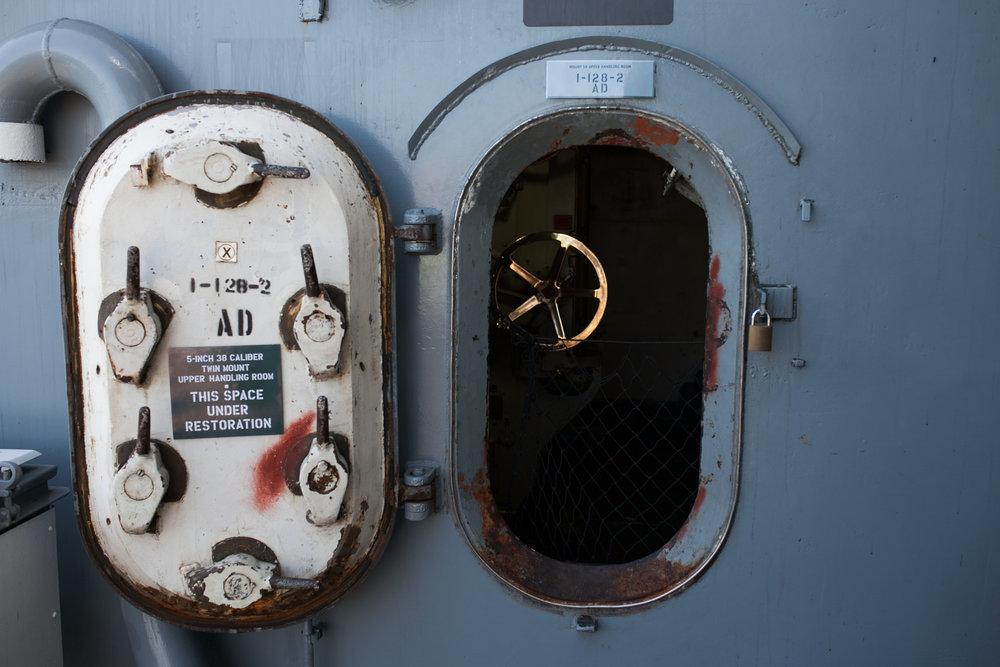 Shadows & texture aboard the  USS Iowa