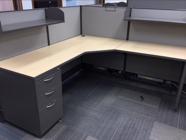 Ais Workstations W Bbf Ped Dual Shelves Taupe Maple Grey