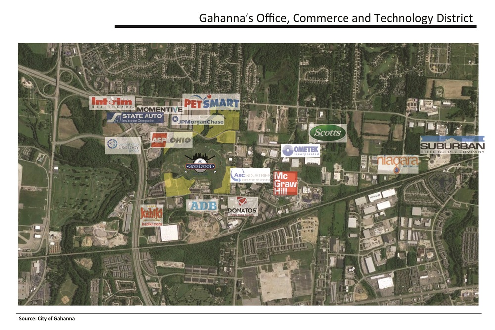 Large Corporations within and surrounding Central Park of Gahanna