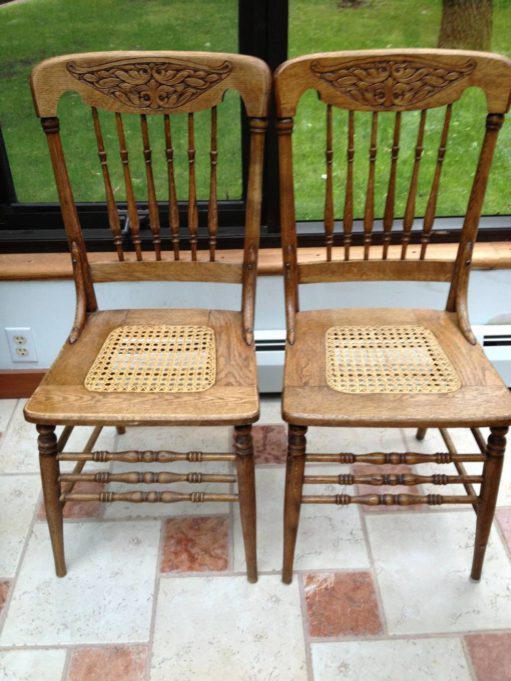 Chairs are oak pressed back