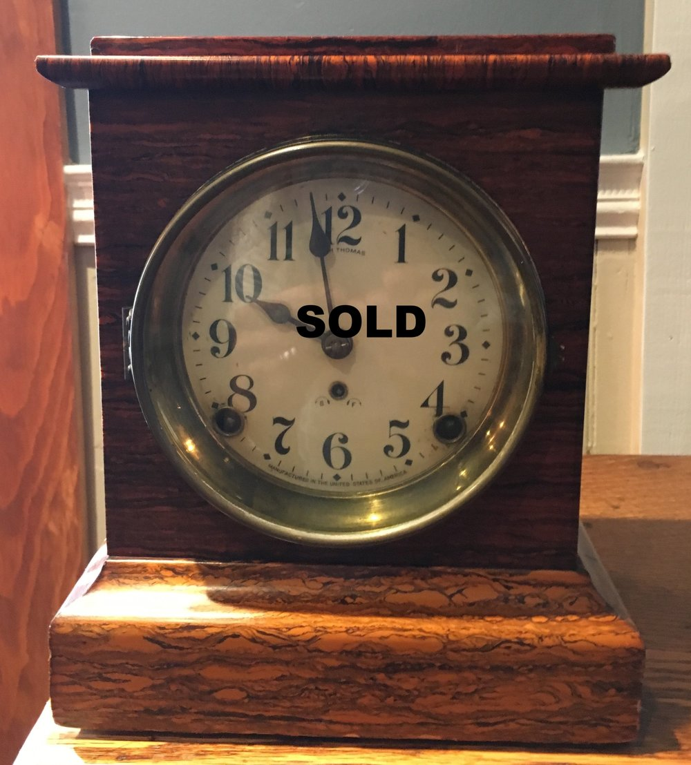 Seth Thomas shelf clock circa 1880's.  chimes on the hour and the half hour.