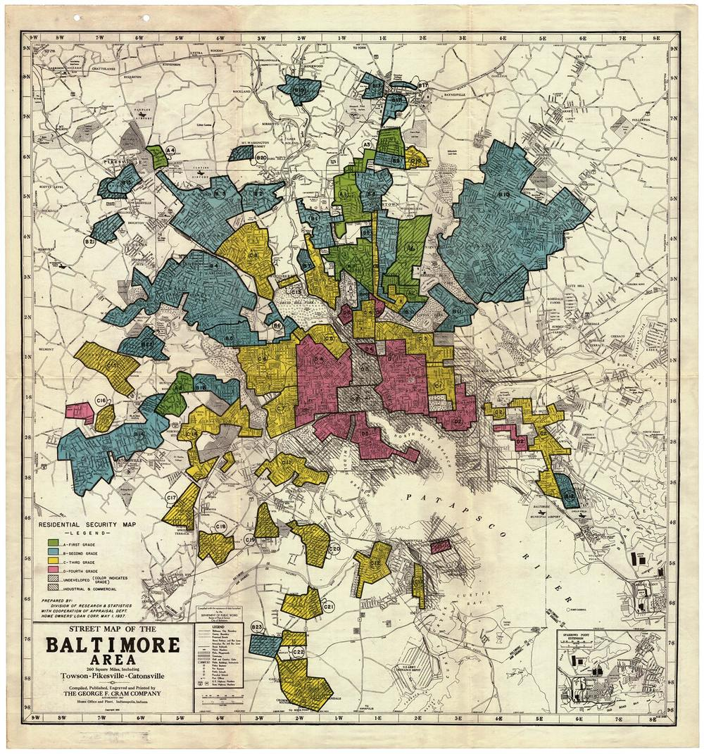 "The infamous redlining map or ""residential security map"" that helped to solidify Baltimore's apartheid system in 1937. Posted by  Baltimore Redevelopment Action Coalition for Empowerment."