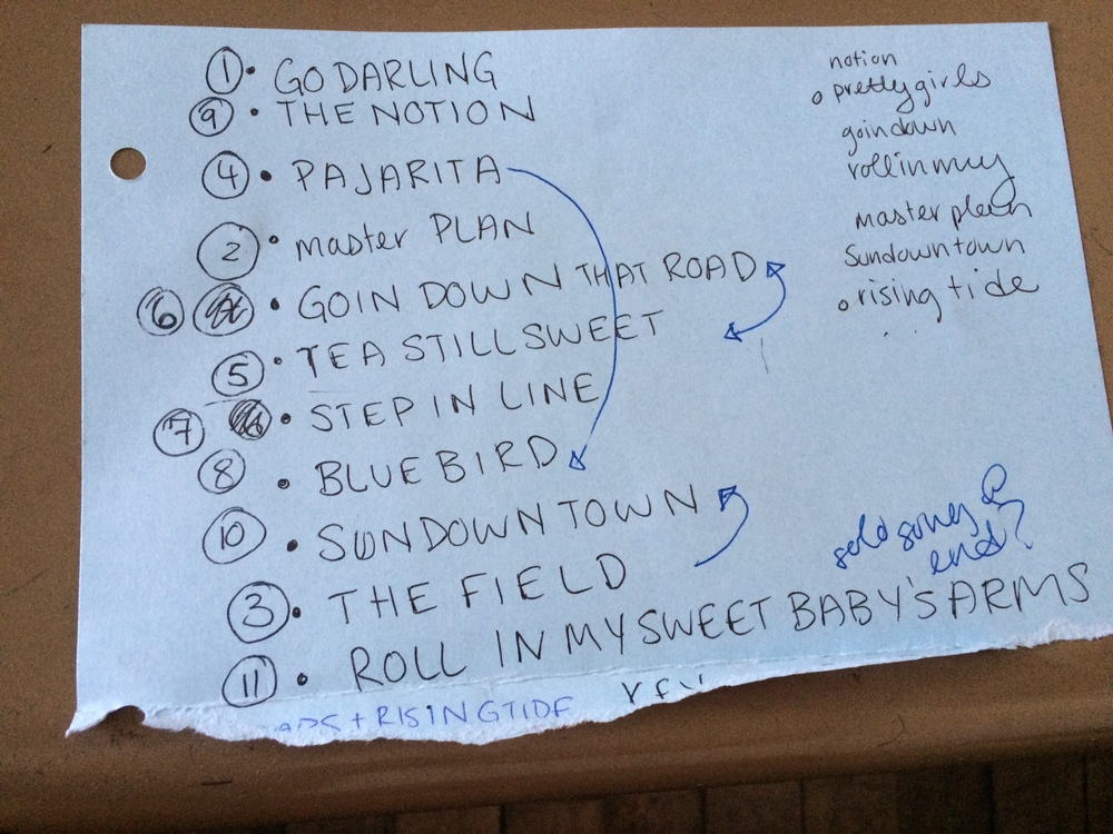A set list from a show on my most recent tour down to North Carolina and back.