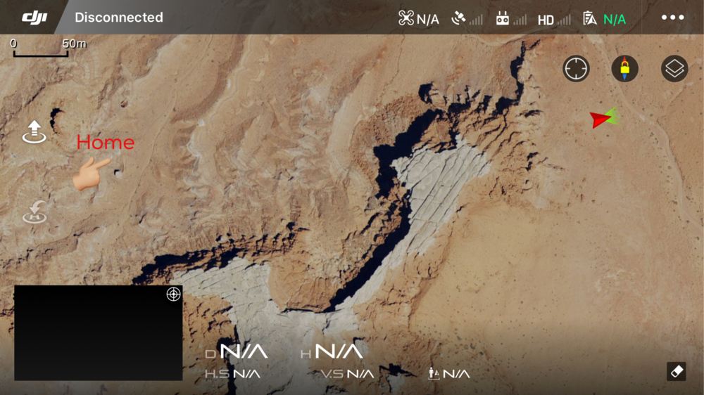 Screen shot of my DJI home screen- showing where by sturdy bird was last heard vs. where I was