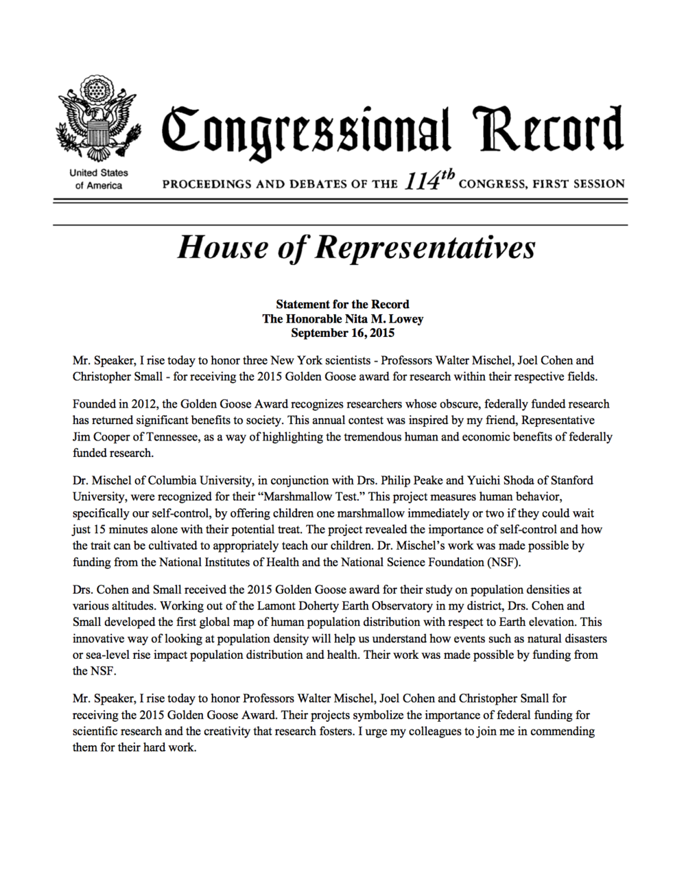 Congresswoman Nita Lowey Statement for the Record