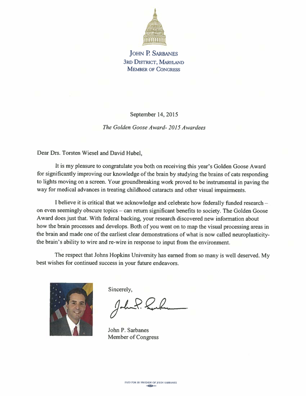 Congressman John P. Sarbanes Letter of Congratulations