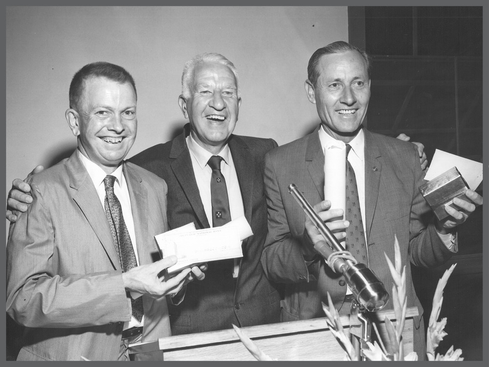 Raymond C. Bushland (left) and Edward F. Knipling receiving Hoblitzelle National Award for Agriculture. Photo courtesy of World Food Prize Foundation.