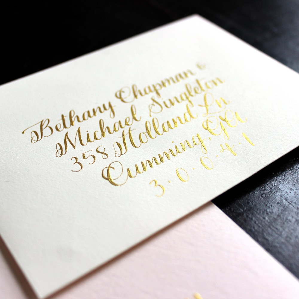 Blush & cream wedding invitations with gold traditional copperplate calligraphy by Ashley Bush
